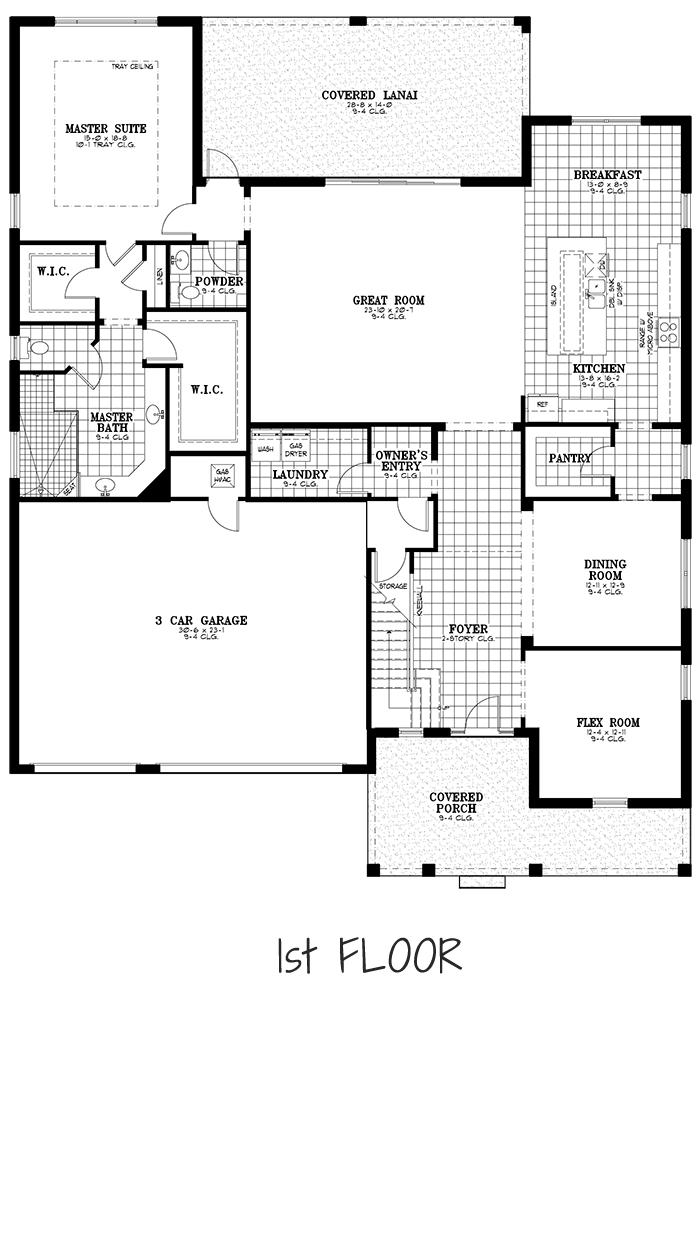 Calesa Township Floor Plans Ocala FL - Juniper Home Model 1st Floor