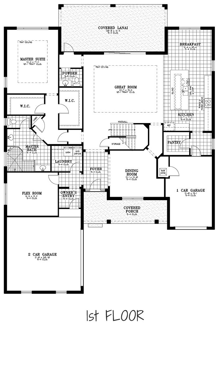 Calesa Township Floor Plans Ocala FL - Mulberry Home Model 1st Floor
